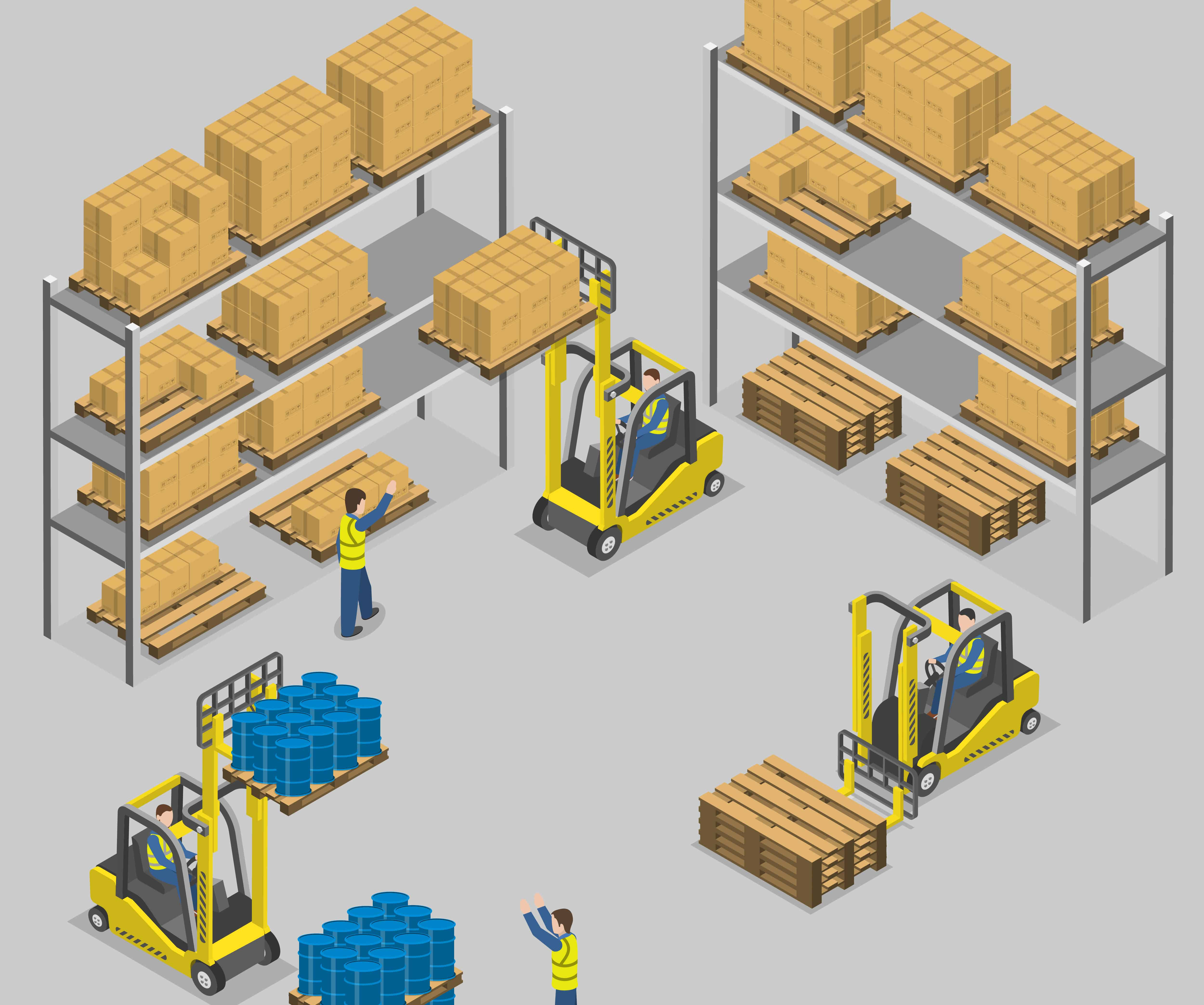 fulfillment center with forklifts