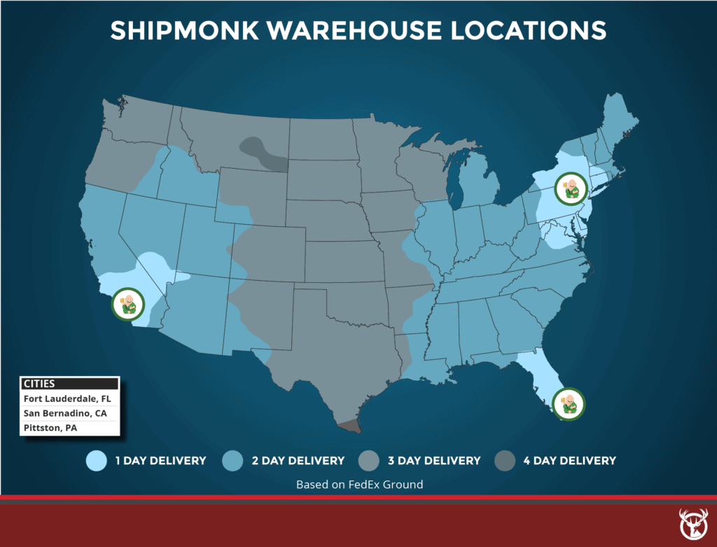 ShipMonk warehouses delivery zones map