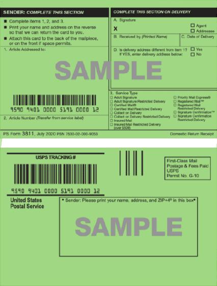 USPS certified mail return receipt