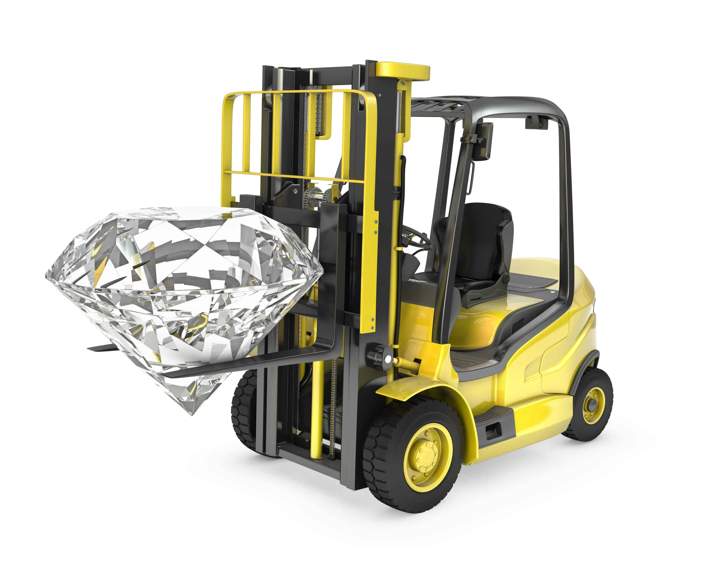 """""""Fork lift truck lifts round cut diamond, isolated on white background"""""""