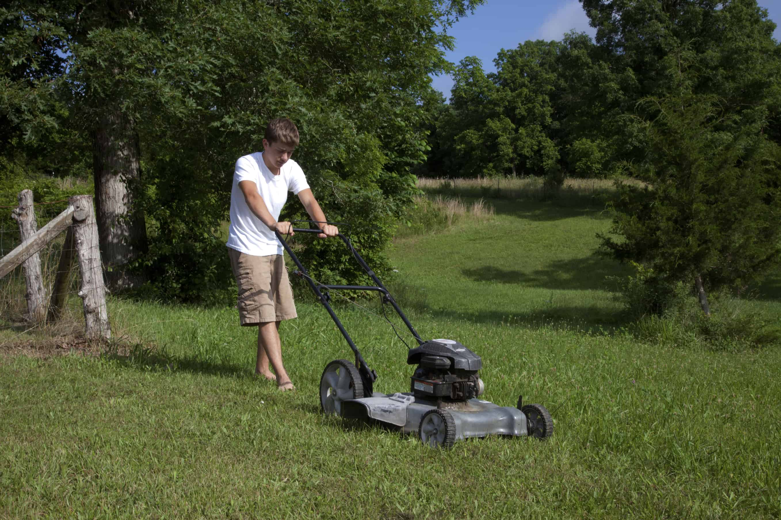 Mowing the grass with a lawnmower